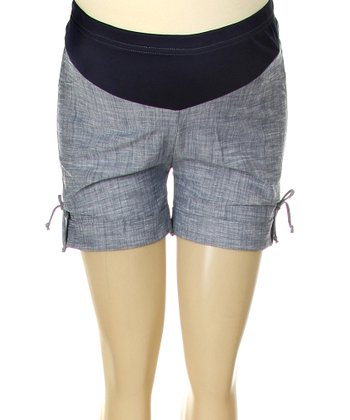 Denim Side-Tie Mid-Belly Maternity Shorts