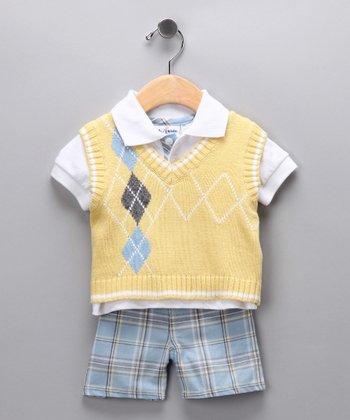 Yellow Argyle Sweater Vest Set - Toddler
