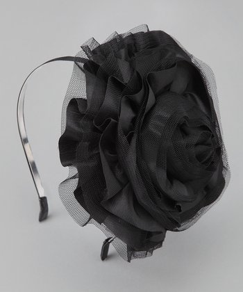 Black Tulle Flower Headband