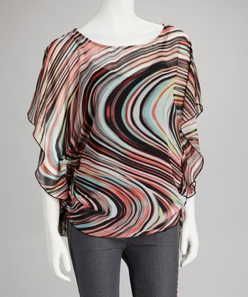 Coral & Aqua Swirl Butterfly-Sleeve Top