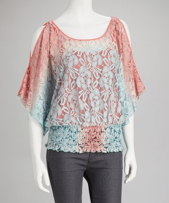 Coral & Teal Lace Cutout Drape-Sleeve Top