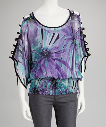 Purple & Jade Floral Cutout Sleeve Top