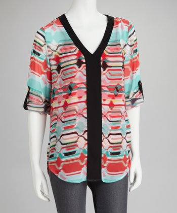 Coral & Aqua Mod Placket V-Neck Top