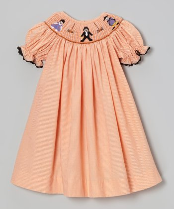 Orange Stripe Halloween Bishop Dress - Girls