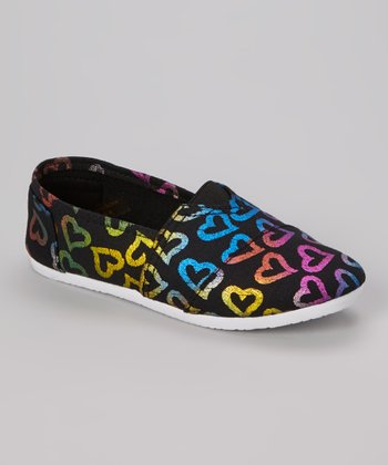 Black Heart Slip-On Shoe