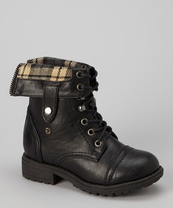 Black Chess Foldover Boot