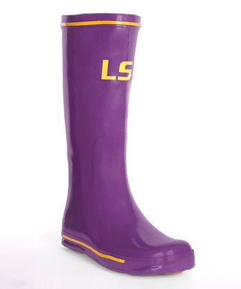 Purple Louisiana State Logo Rain Boot - Women