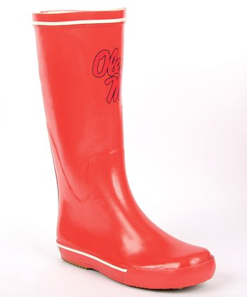 Crimson Mississippi Logo Rain Boot - Women