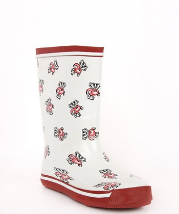 White & Crimson Wisconsin Rain Boot