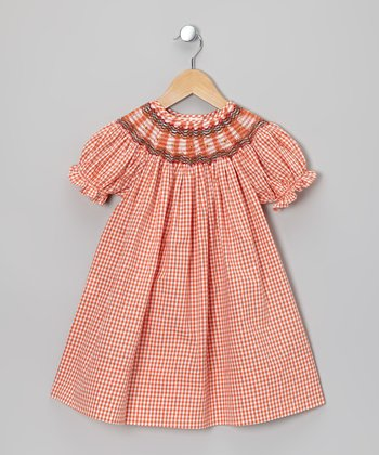 Orange Gingham Bishop Dress - Toddler & Girls