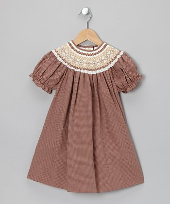 Brown Gingham Bishop Dress - Toddler