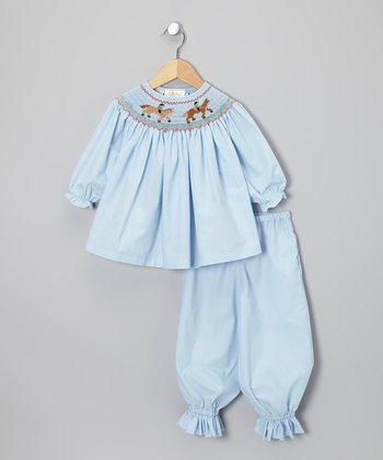 Light Blue Horse Bishop Top & Pants - Toddler