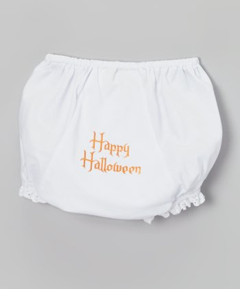 White & Orange 'Happy Halloween' Diaper Cover - Infant