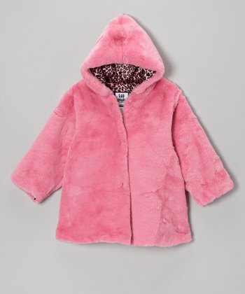 Pink & White Leopard Softy Hooded Swing Coat - Infant