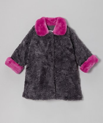 Gray & Berry Faux Fur Sweet Pea Coat - Infant, Toddler & Girls
