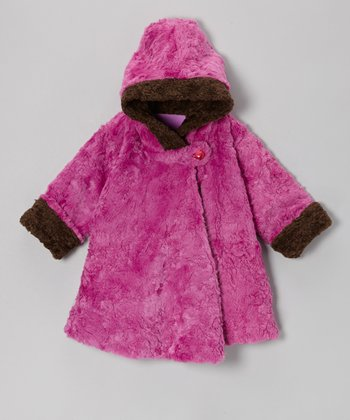 Berry & Brown Faux Fur Wrap Swing Coat - Toddler & Girls