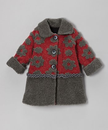 Crimson Simple Flower Sweet Pea Coat - Infant