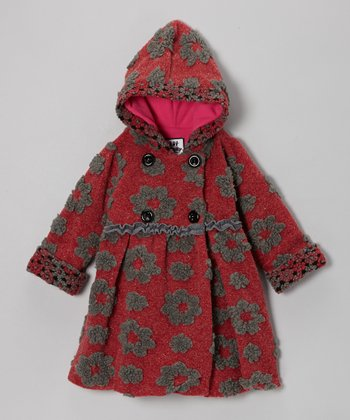 Crimson Simple Flower Mary-Jayne Bubble Coat - Toddler & Girls