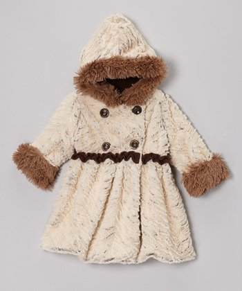 Brown Wave Faux Fur Mary-Jayne Bubble Coat - Toddler & Girls