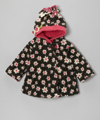 Black & Pink Lola Flower Wrap Swing Coat - Toddler & Girls