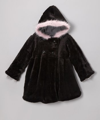 Black & Pink Faux Fur Mary-Jayne Bubble Coat - Toddler & Girls