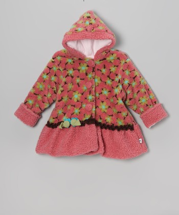 Pink & Brown Lola Flower Swing Bubble Coat - Infant & Toddler