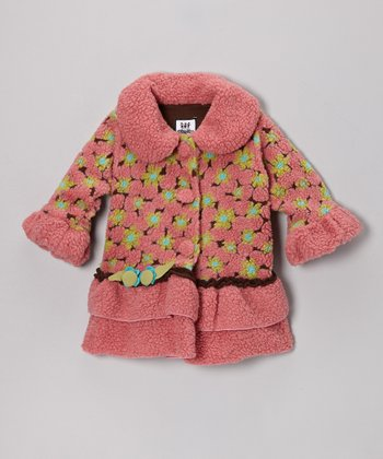 Pink & Brown Lola Flower Sweet Pea Ruffle Coat - Infant, Toddler & Girls