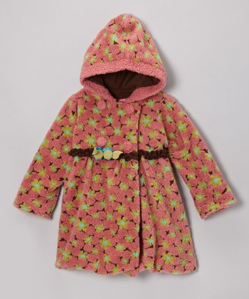 Pink Lola Flower Mary-Jayne Bubble Coat - Infant, Toddler & Girls
