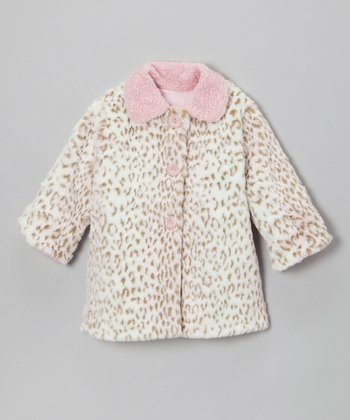 Pink & Cream Faux Fur Sweet Pea Coat - Infant