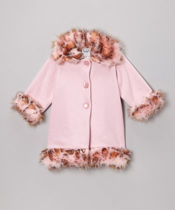 Pink Leopard Faux Fur Sweet Pea Coat - Toddler & Girls