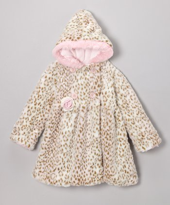 Pink Leopard Faux Fur Softy Mary-Jayne Bubble Coat - Infant & Toddler