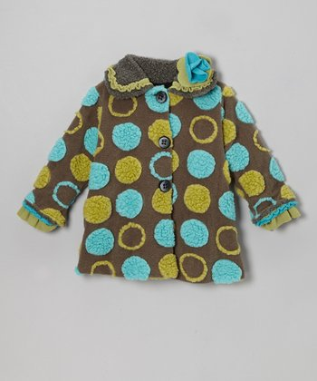 Charcoal Polka Dot Sweet Pea Coat - Girls