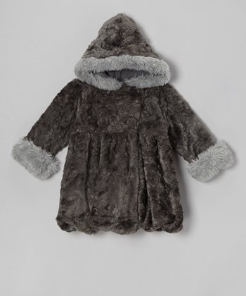 Charcoal Furry Mary Jayne Bubble Coat - Girls
