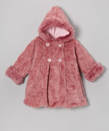 Raspberry Faux Fur Bubble Coat - Infant & Toddler