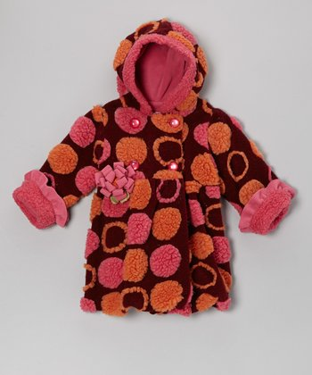 Raisin Polka Dot Mary-Jayne Bubble Coat - Infant & Toddler
