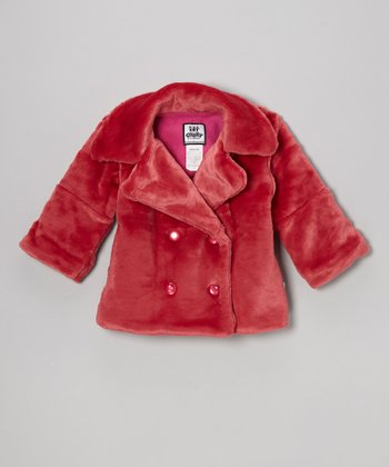 Coral Faux Fur Sweet Pea Coat - Girls