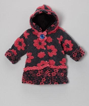 Navy Basic Flower Hooded Swing Coat - Infant