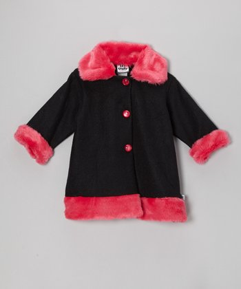 Black & Pink Faux Fur Sweet Pea Coat - Infant, Toddler & Girls