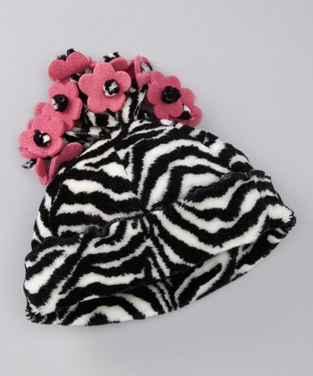 Black & White Zebra Flower Beanie