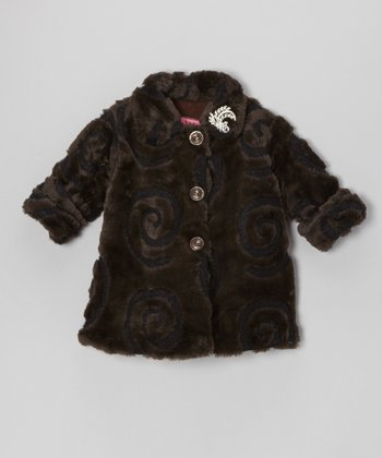 Brown & Black Swirl Faux Fur Sweet Pea Coat - Infant & Toddler