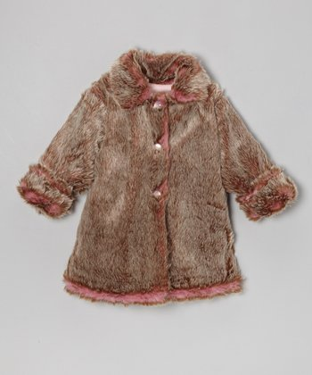 Rose & Beige Faux Fur Sweet Pea Coat - Toddler