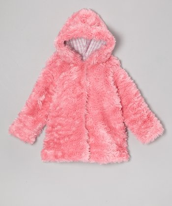 Brite Pink Faux Fur Hooded Swing Coat - Infant