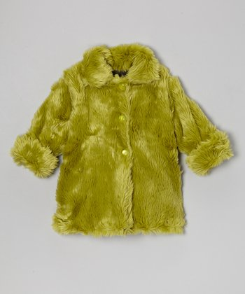 Lime Faux Fur Sweet Pea Coat - Infant, Toddler & Girls