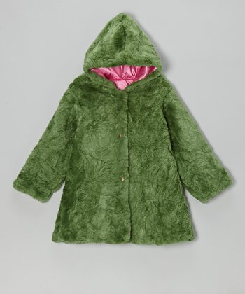 Forest Green Faux Fur Hooded Swing Coat - Infant & Toddler