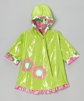 Lime & Hot Pink Mod Flower Swing Raincoat - Toddler & Girls