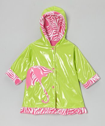 Lime & Hot Pink Zebra Umbrella Raincoat - Toddler & Girls