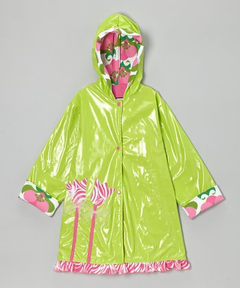 Lime & Hot Pink Zebra Tulip Raincoat - Infant, Toddler & Girls