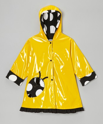 Yellow & Black Ladybug Raincoat - Infant, Toddler & Girls