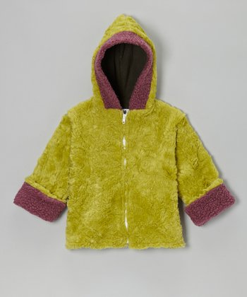 Lime & Purple Faux Fur Betty Sue Coat - Girls