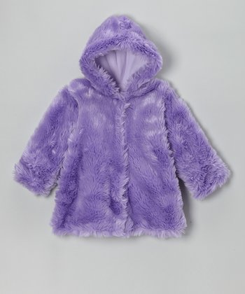 Purple Faux Fur Hooded Swing Coat - Infant